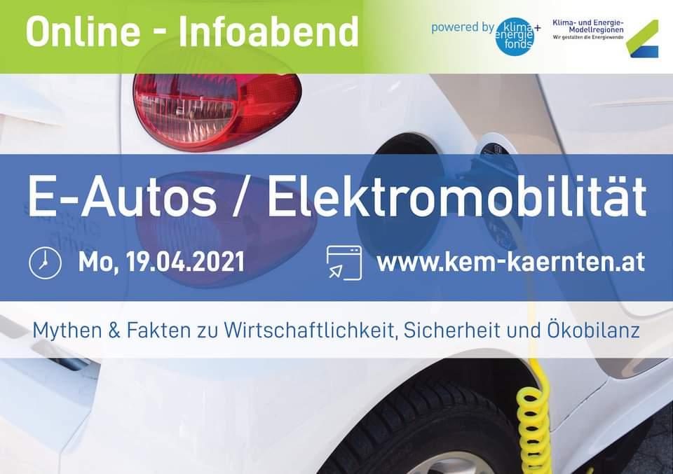 Info-Abend zum Thema E-Autos / Elektromobilität der Kärntner KEM-Regionen